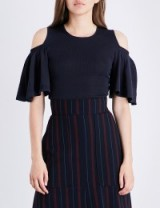 GANNI Romilly cold-shoulder knitted top