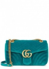 GUCCI GG Marmont small teal velvet shoulder bag