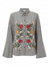 Miss Selfridge Gingham Flute Sleeve Shirt | floral embroidered check shirts