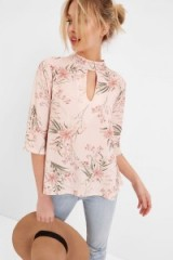 GIRLS ON FILM PINK BOTANICAL PRINT CHOKER TOP ~ floral tops