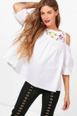 boohoo Grace Embroidered Cold Shoulder Woven Top