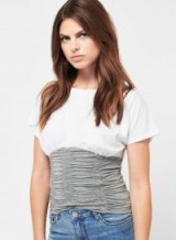 Miss Selfridge Grey Ruched Corset T-Shirt | fitted tees | on-trend t-shirts