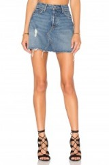 GRLFRND EVA A-FRAME GUSSET SKIRT | Hailey Baldwin blue denim mini skirt at the Revolve 4th of July Party in the Hamptons