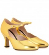 GUCCI Mary-Jane gold leather pumps