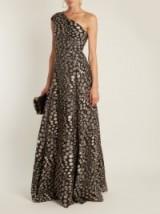 ROLAND MOURET Hampstead Bloom one-shoulder fil coupé gown