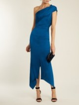 ROLAND MOURET Harlow one-shoulder hammered silk dress