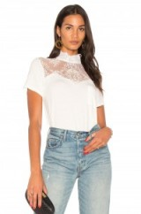 Haute Hippie UNREQUITED LOVE TEE | white high neck lace front tees | luxe t-shirts