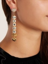 DOLCE & GABBANA Heart and crystal-embellished clip-on Amore earrings