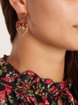 DOLCE & GABBANA Heart drop crystal-embellished earrings