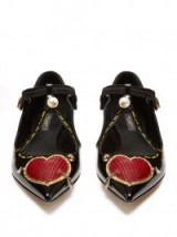 DOLCE & GABBANA Heart-appliqué patent-leather flats