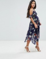 Hope & Ivy Maternity Midi Dress With Asymmetric Hem ~ pregnancy occasion fashion ~ floral cold shoulder dresses