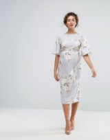 Hope & Ivy Maternity Printed Kimono Midi Dress ~ floral pregnancy dresses