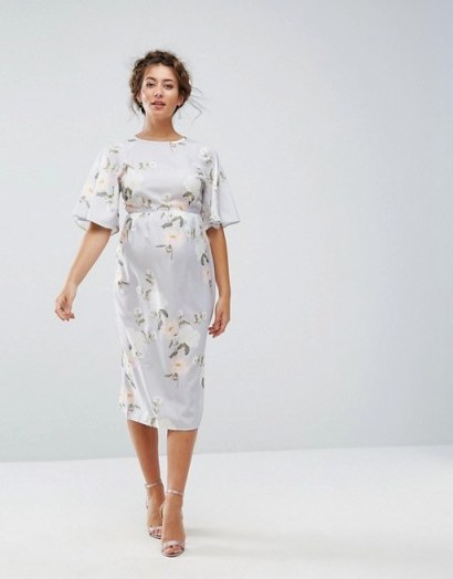Hope & Ivy Maternity Printed Kimono Midi Dress ~ floral pregnancy dresses - flipped