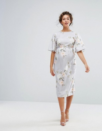 Hope & Ivy Maternity Printed Kimono Midi Dress ~ floral pregnancy dresses