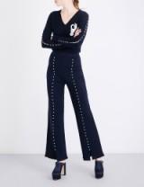 HUISHAN ZHANG Caron faux pearl-embellished flared wool trousers