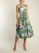 DOLCE & GABBANA Hydrangea-print sleeveless cotton-poplin dress ~ beautiful Italian fashion ~ floral fit and flare