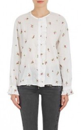 ISABEL MARANT Uamos Embroidered Voile Blouse | white floral blouses
