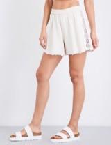 JONATHAN SIMKHAI Lace-trimmed cotton shorts