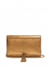 SAINT LAURENT Kate small crackled-leather cross-body bag ~ gold metallic crossbody bags