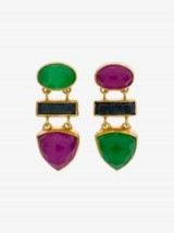 Katerina Makriyianni Gemstone Drop Earrings – green & purple