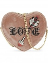 KURT GEIGER LONDON Velvet heart cross-body bag