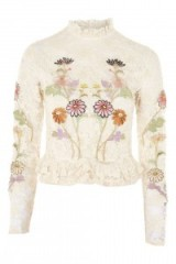 Topshop Lace Embroidered Peplum Top | romantic high neck floral cream tops