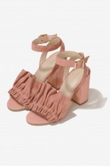 Lavish Alice Suede Ruffle Sandals in Soft Pink