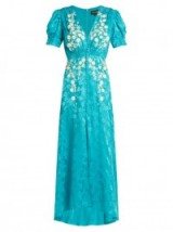 SALONI Lea embroidered floral-jacquard silk dress