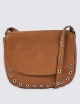 M&S COLLECTION Leather Eyelet Saddle Across Body Bag