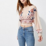 RIVER ISLAND Light pink floral embroidered batwing top ~ sheer tops