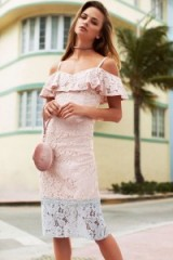 LITTLE MISTRESS PINK LACE BODYCON DRESS