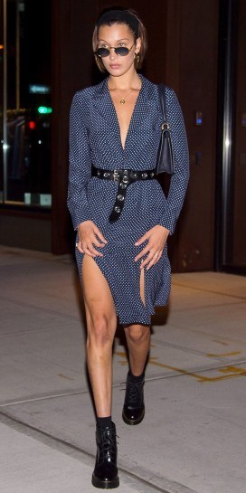 Model Bella Hadid out in New York wearing a Frame navy Sgt, Pepper Dress, available from frame-store.com, 17 July 2017. Celebrity street style | models off duty fashion - flipped