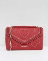 Love Moschino Suede Heart Shoulder Bag with Chain