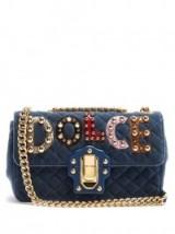 DOLCE & GABBANA Lucia embellished velvet shoulder bag