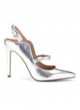 MISS SELFRIDGE LYDIA Curve Sling Back Court Shoes ~ silver metallic courts