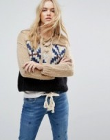 Maison Scotch Gaucho Jacquard Knit | knitwear | chunky front lace up jumpers