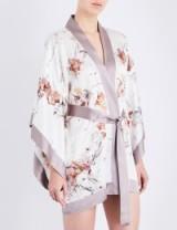 MENG Floral-print silk-satin kimono robe ~ sleepwear ~ robes