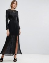 Miss Selfridge Embroidered Pleated Maxi Dress ~ long black party dresses