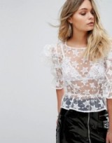 Missguided Puffball Sleeve Star Embroidered Blouse | sheer white statement blouses