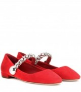 MIU MIU Suede Mary Janes with crystal embellishments ~ red Mary Jane shoes