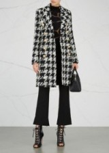 BALMAIN Monochrome wool blend herringbone tweed coat – chic winter coats