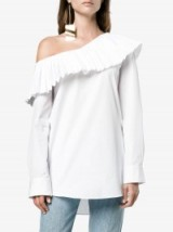 Monographie One-Shoulder Pleated Trim Top – white frill shoulder tops