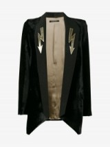 Navro Arrow Bolt Lapel Blazer – black velvet blazers – jackets
