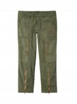 NILI LOTAN SURPLUS GREEN KENNEDY PANT   cropped khaki trousers   zipped pants
