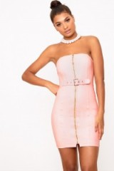 PRETTYLITTLETHING NUDE FAUX LEATHER BELT DETAIL BODYCON DRESS ~ pretty little thing ~ pink party dresses
