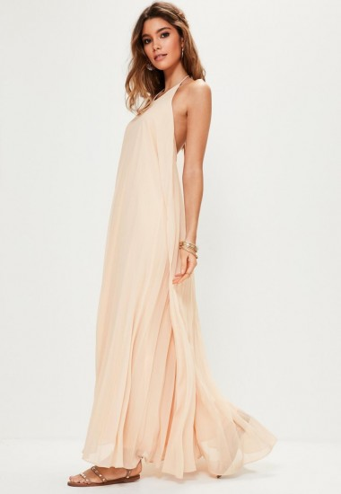 Missguided nude pleated maxi dress – long summer halter ...