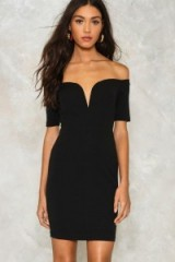 NASTY GAL One Way or Another Off-the-Shoulder Dress ~ black bardot dresses ~ lbd