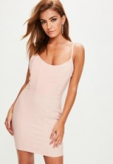 MISSGUIDED pink boned scoop neck bodycon dress
