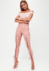 Missguided pink faux suede lace up leggings ~ skinny trousers