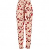 River Island Pink floral tie waist tapered trousers